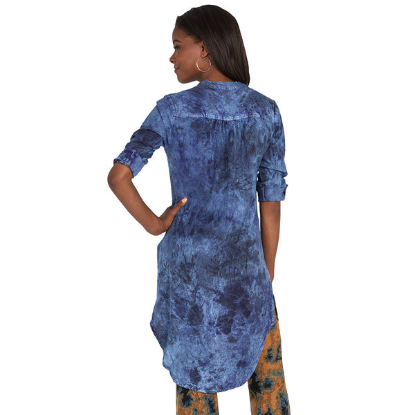 Dark Cloud Wash Denim Maxi Tunic - Citi Trends - Plus - Back