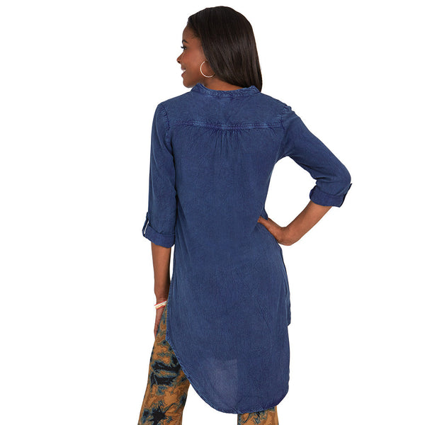 Dark Wash Denim Maxi Tunic - Citi Trends - Plus - Back
