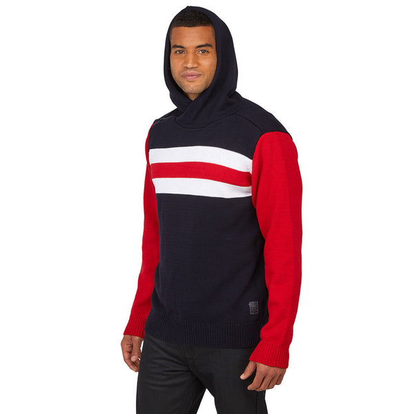 Believe The Stripe Hype Navy/Red Hooded Sweater - Citi TrendsMens - 1