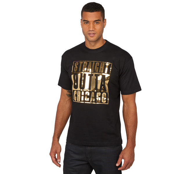 Straight Outta Chicago Gold Mirror Foil Graphic Tee - Citi Trends Mens - Front