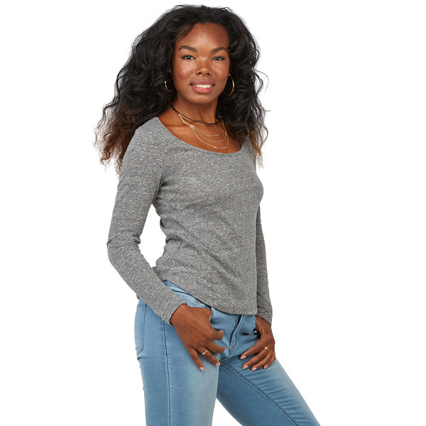 Can't-Miss Classic Gray Curve-Hem Top - Citi Trends Juniors - Front