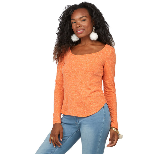 Can't-Miss Classic Orange Curve-Hem Top - Citi Trends Juniors - Front
