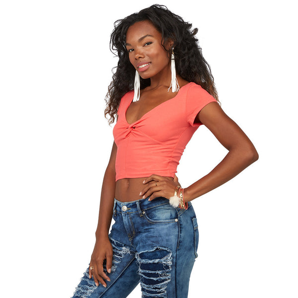 Do the Twist Coral Twist-Front Crop Top - Citi Trends Juniors - FRONT