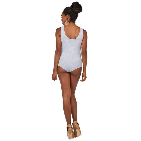 All Suited Up Gray Ruched-Neck Bodysuit - Citi Trends Juniors - BACK