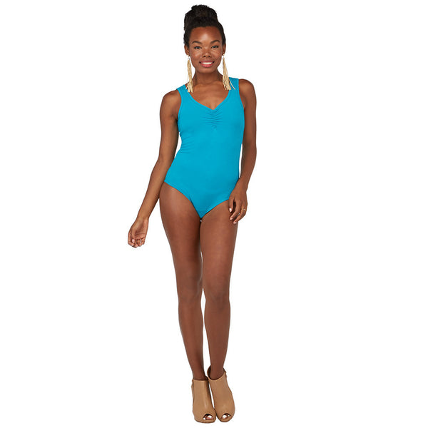 All Suited Up Turquoise Ruched-Neck Bodysuit - Citi Trends Juniors - FRONT