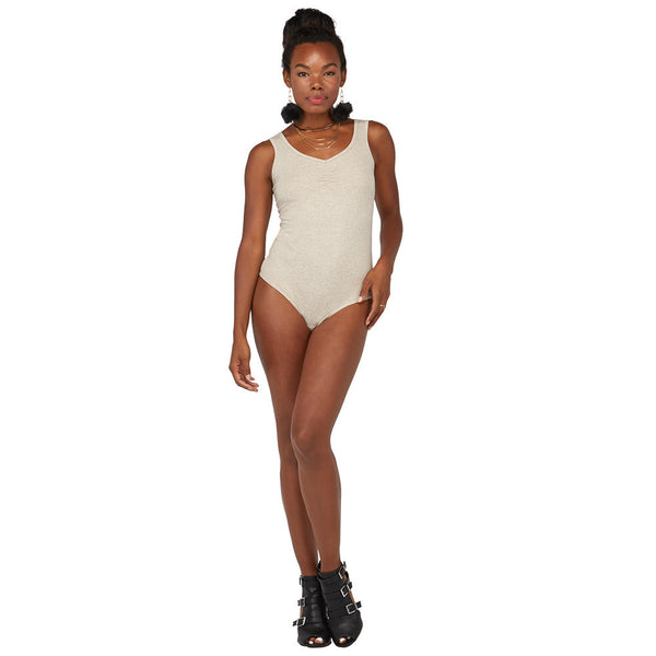All Suited Up Oatmeal Ruched-Neck Bodysuit - Citi Trends Juniors - FRONT