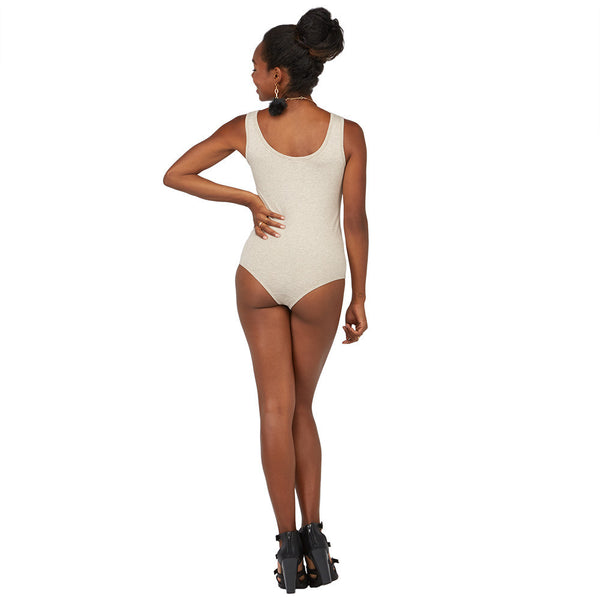 All Suited Up Oatmeal Ruched-Neck Bodysuit - Citi Trends Juniors - BACK