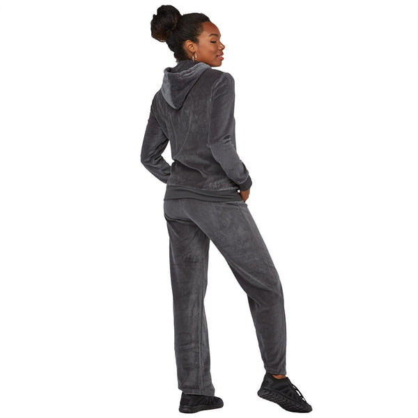 Casual Flow Charcoal Velour 2-Piece Hoodie Set With Sequin Pockets - Citi Trends Juniors - Back