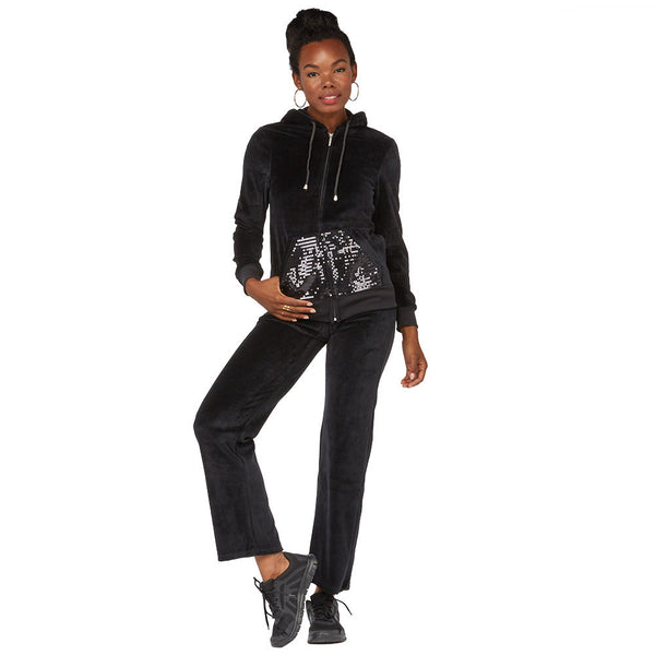 Casual Flow Black Velour 2-Piece Hoodie Set With Sequin Pockets - Citi Trends Juniors - Front