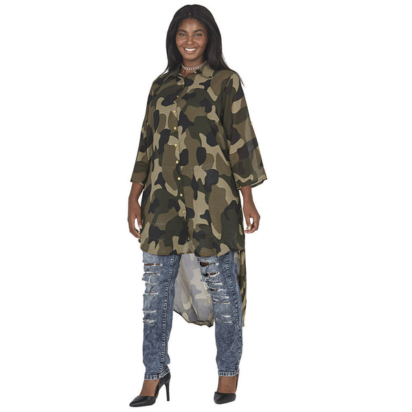 Camo Print Button-Up Maxi Top with High-Low Curve-Hem - Citi Trends Plus and Juniors - Front