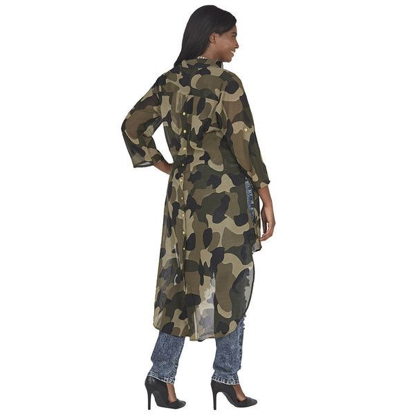 Camo Print Button-Up Maxi Top with High-Low Curve-Hem - Citi Trends Plus and Juniors - Back