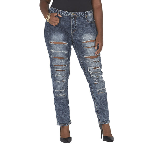 Acid Wash Frayed Slit Front Skinny Jean - Citi Trends Juniors and Plus - Front