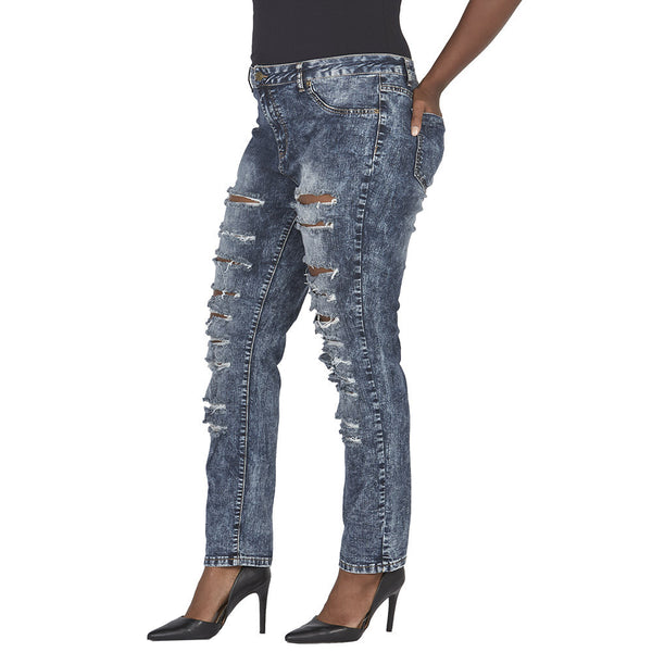 Acid Wash Frayed Slit Front Skinny Jean - Citi Trends Juniors and Plus - Side