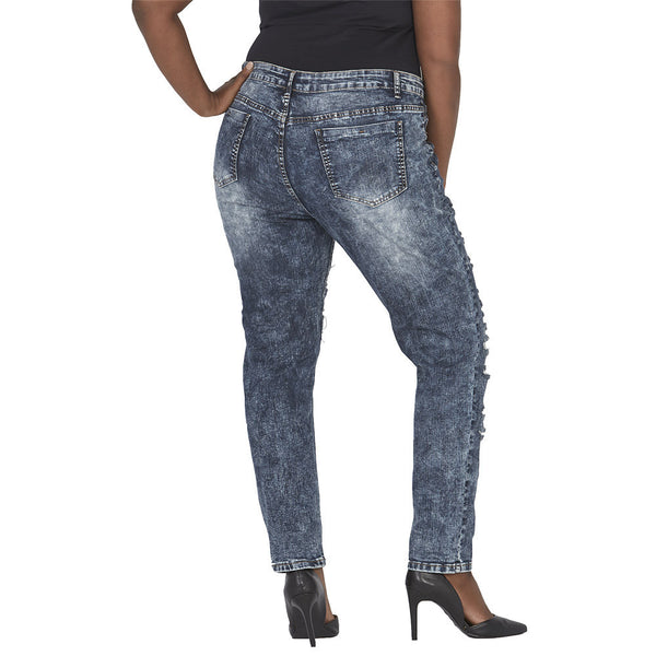 Acid Wash Frayed Slit Front Skinny Jean - Citi Trends Juniors and Plus - Back