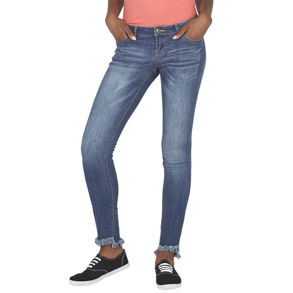 Blue Distressed Wash Skinny Jean with Frayed High-Low Hem - Citi Trends Juniors and Plus - Front