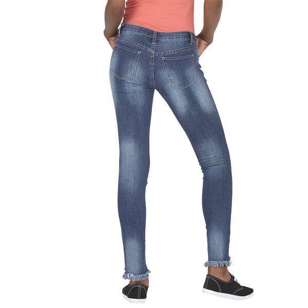 Blue Distressed Wash Skinny Jean with Frayed High-Low Hem - Citi Trends Juniors and Plus - Back