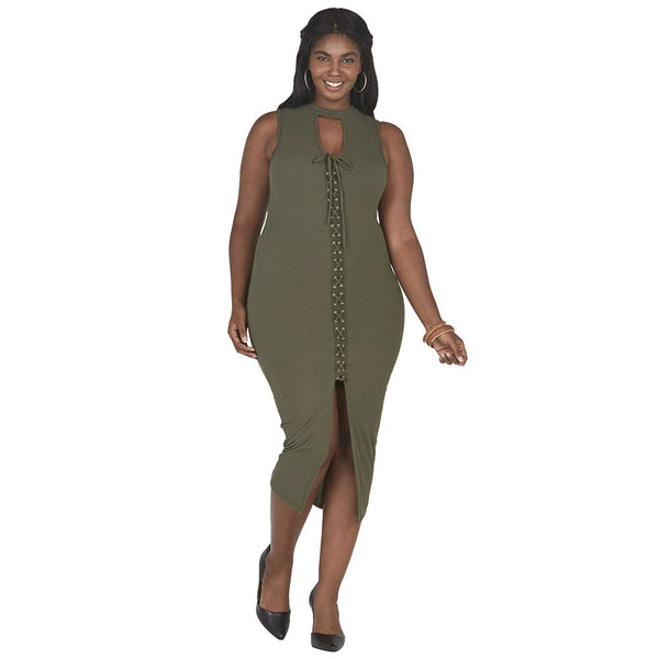 It's A Tie Olive Lace-Up Midi-Length Bodycon