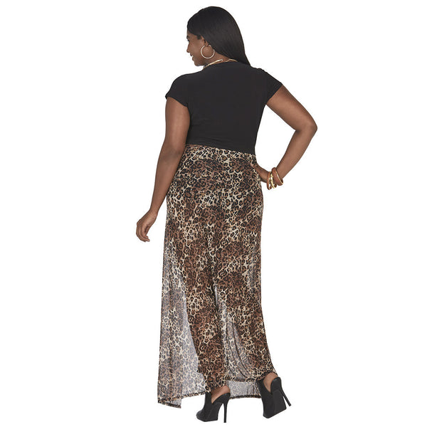 Mix And Mesh Animal Print Maxi Skirt Romper