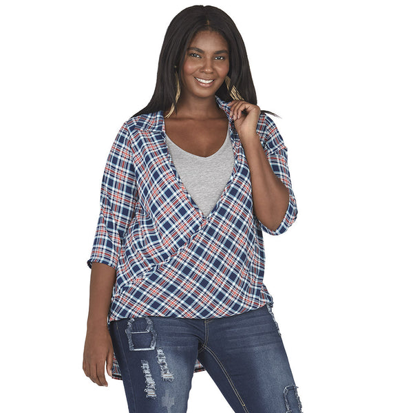 Navy/Red Plaid Wrap Top With High-Low Hem - Citi Trends Plus - Front