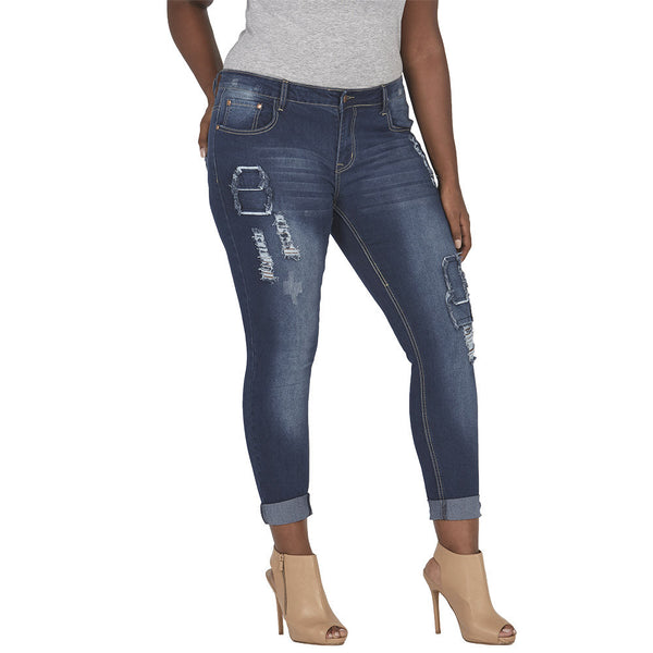 Dark Blue Patchwork Distressed Girlfriend Jean With Rolled Cuff - Citi Trends Plus and Juniors - Front