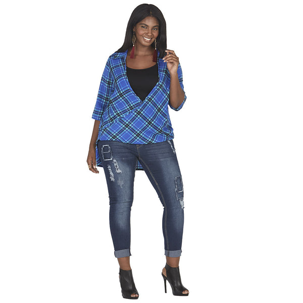 Royal Blue/Mint Plaid Wrap Top With High-Low Hem - Citi Trends Plus - Front
