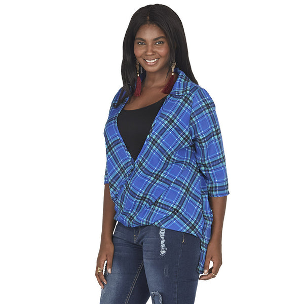 Royal Blue/Mint Plaid Wrap Top With High-Low Hem - Citi Trends Plus - Side