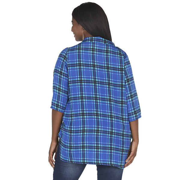 Royal Blue/Mint Plaid Wrap Top With High-Low Hem - Citi Trends Plus - Back