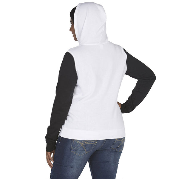 Mickey Mouse Graphic White Hoodie With Black Contrast Sleeves - Citi Trends Juniors and Plus - Back