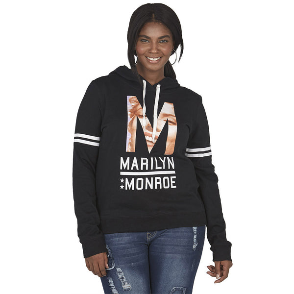 Marilyn Monroe Graphic Black Hoodie With White Varsity Striped Sleeves - Citi Trends Plus and Juniors - Front