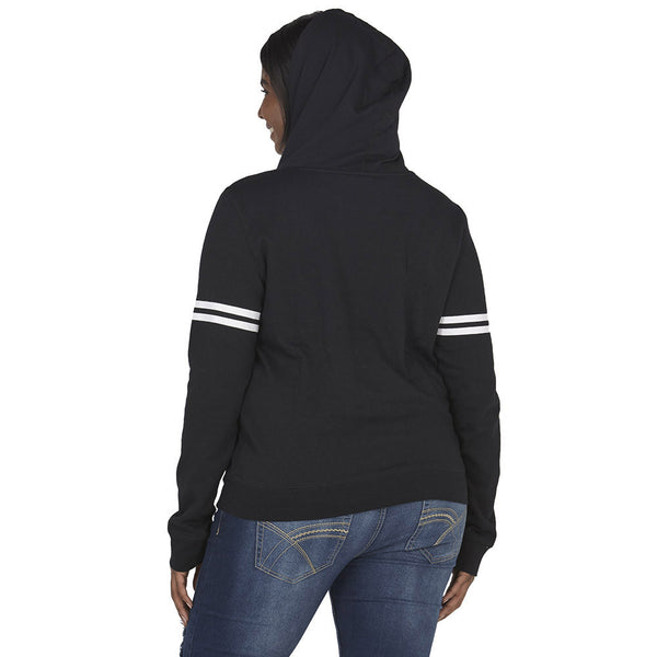 Marilyn Monroe Graphic Black Hoodie With White Varsity Striped Sleeves - Citi Trends Plus and Juniors - Back