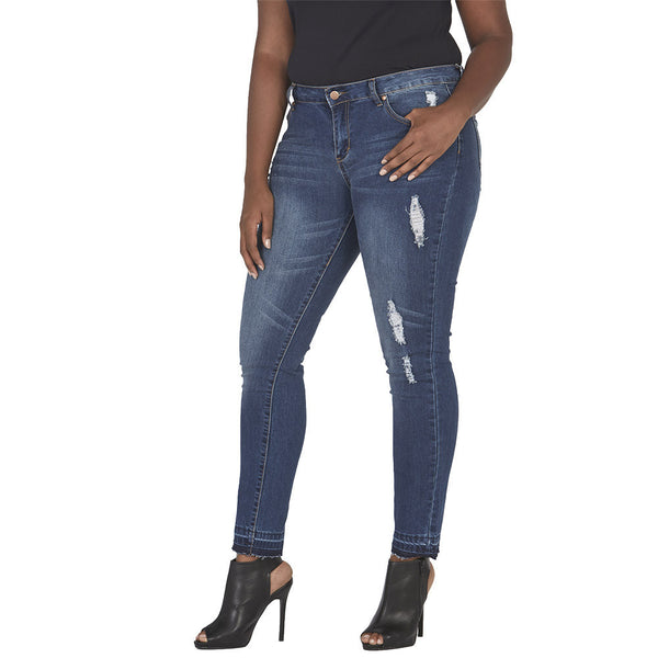 Tearing Is Caring Dark Blue Wash Skinny Jean - Citi Trends Plus and Juniors - FRONT