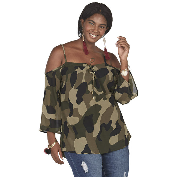 Camo Print Lace-Up Front Cold Shoulder Top - Citi Trends Plus and Juniors - Front