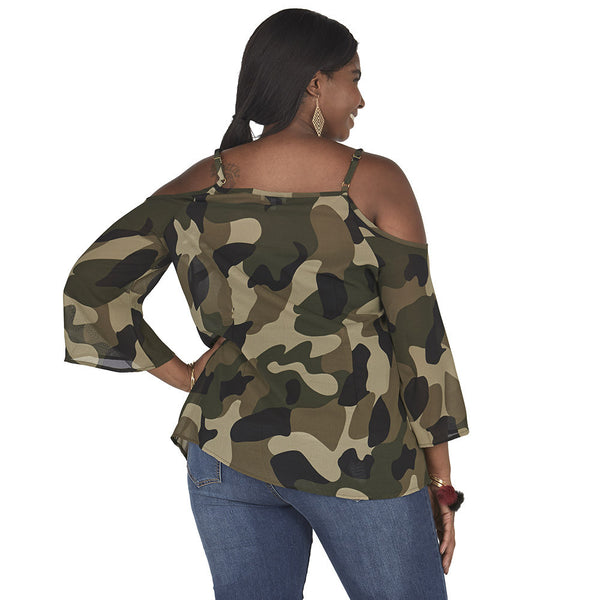Camo Print Lace-Up Front Cold Shoulder Top - Citi Trends Plus and Juniors - Back