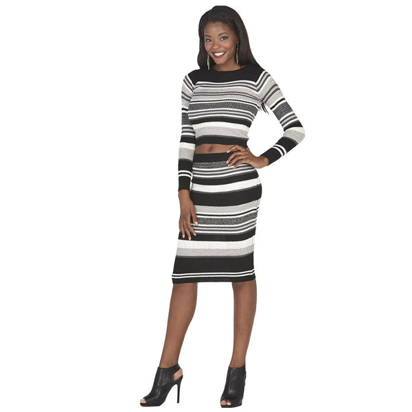 Black and Grey Long-Sleeve Striped Knit Crop Top - Citi Trends Juniors - Full Length Front