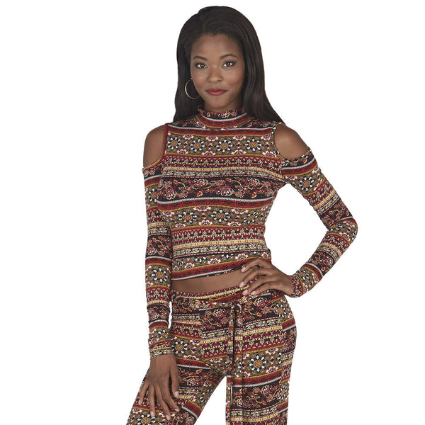 Gold Tribal Print Mock Neck Cold Shoulder Crop Top - Citi Trends Juniors - Crop Front