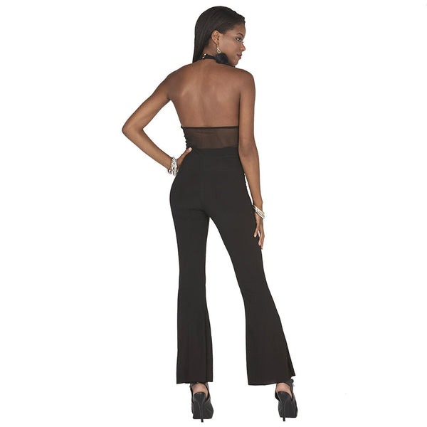 Disco Queen Mock-Neck Flare Jumpsuit - Citi Trends Juniors - BACK