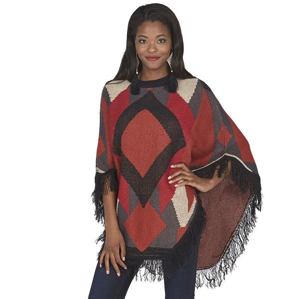Geometric Print Poncho With Fringe Hem - Citi Trends Juniors - Front