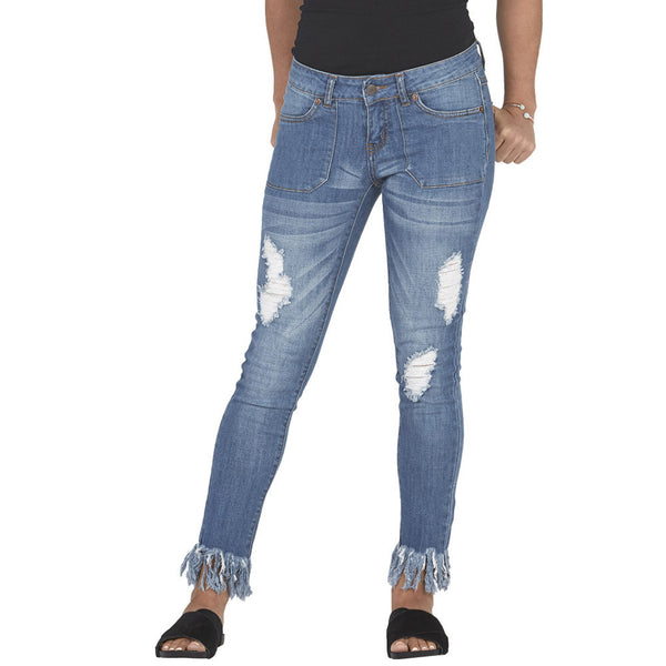 Blue Distressed Skinny Jean With Rip Tear Front and Frayed Hem - Citi Trends Plus and Juniors - Front