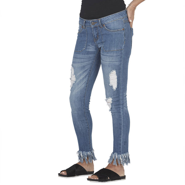 Blue Distressed Skinny Jean With Rip Tear Front and Frayed Hem - Citi Trends Plus and Juniors - Side
