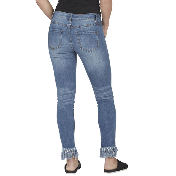 Blue Distressed Skinny Jean With Rip Tear Front and Frayed Hem - Citi Trends Plus and Juniors - Back
