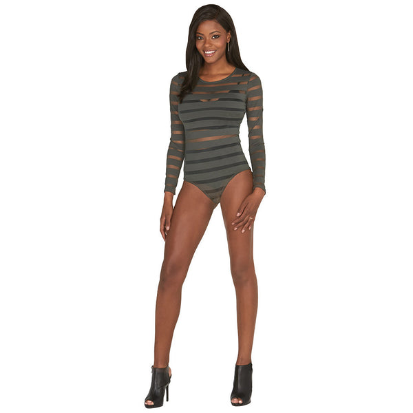 Olive Sheer Mesh Shadow Stripe Bodysuit - Citi Trends Plus and Juniors - Front