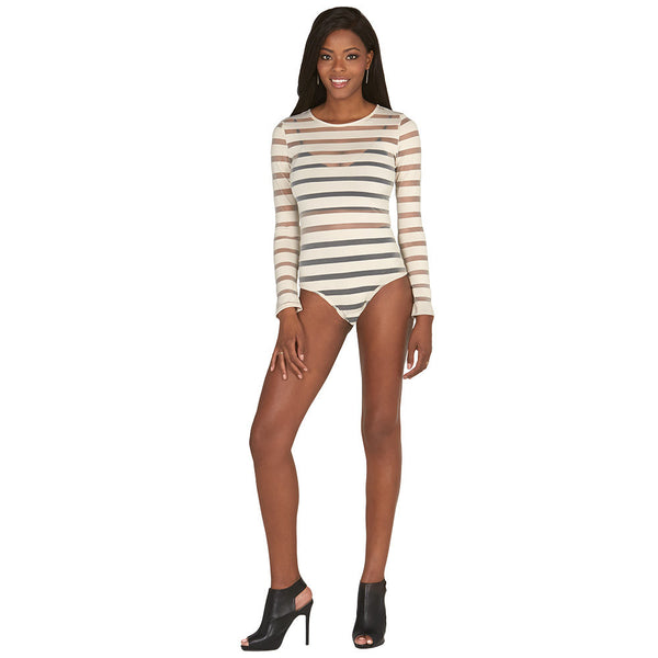 Nude Sheer Mesh Shadow Stripe Bodysuit - Citi Trends Plus and Juniors - Front