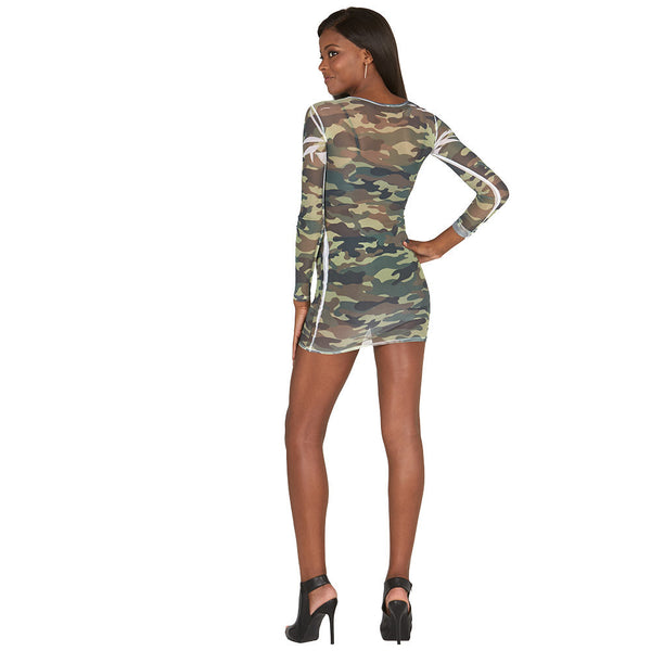 Mesh Attention Camo Mini Dress