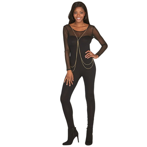 Saturday Night Out Black Mesh Catsuit And Body Chain - Citi Trends Plus and Juniors - Front