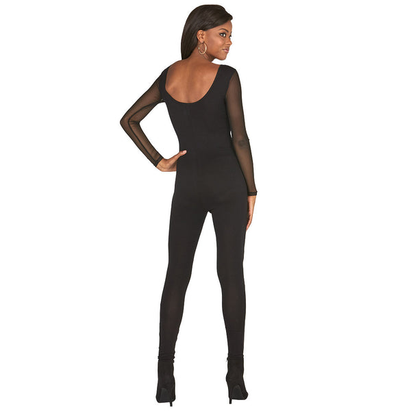 Saturday Night Out Black Mesh Catsuit and Body Chain - Citi Trends Plus and Juniors - Back