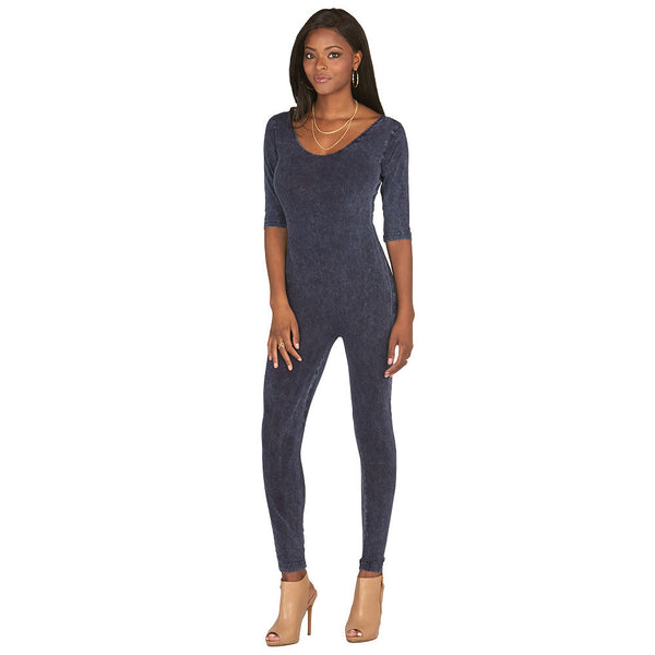 All In One Blue Stone Wash Catsuit - Citi Trends Plus and Juniors - Front