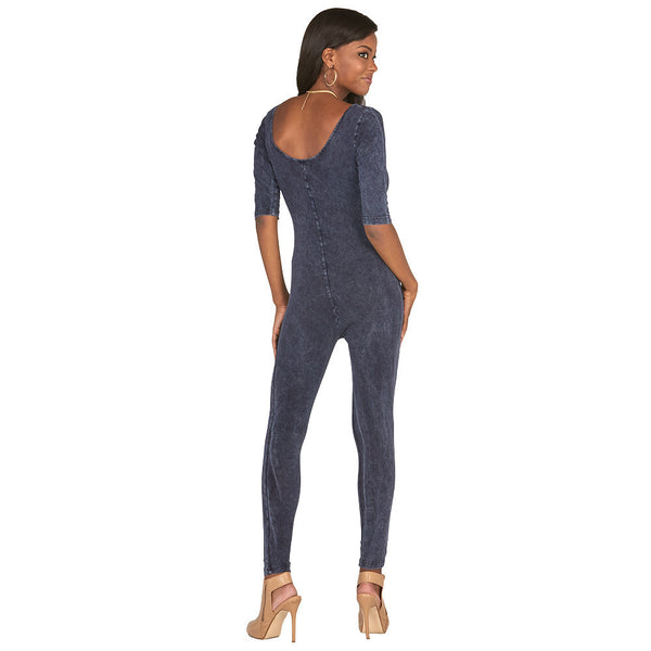 All In One Blue Stone Wash Catsuit