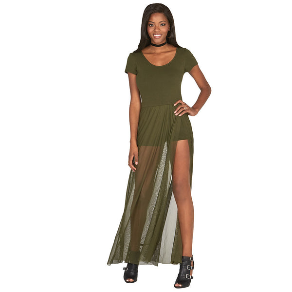 Olive Cap-Sleeve Romper With Mesh Maxi Skirt - Citi Trends Juniors and Plus - Front Slit