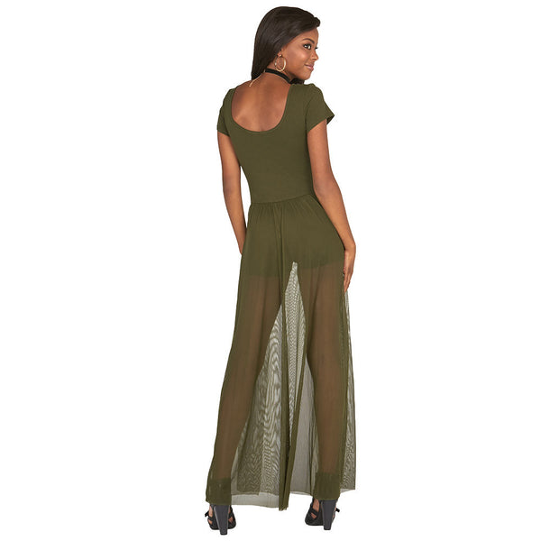 Olive Cap-Sleeve Romper With Mesh Maxi Skirt - Citi Trends Juniors and Plus - Back