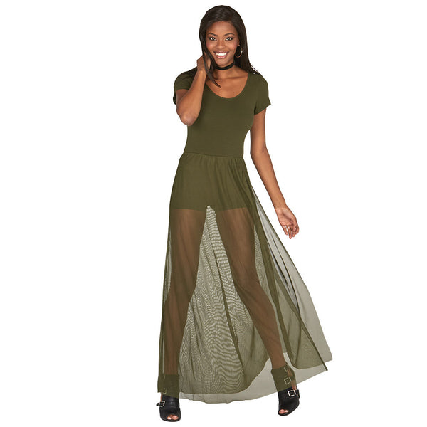 Olive Cap-Sleeve Romper With Mesh Maxi Skirt - Citi Trends Juniors and Plus - Front